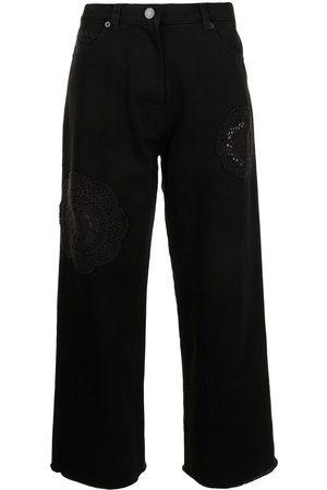 GOEN.J Crochet-trimmed high-rise jeans