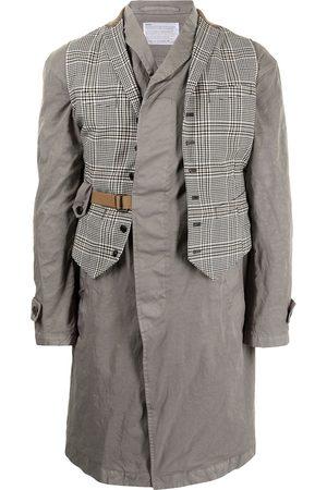 Kolor Checked waistcoat layer coat