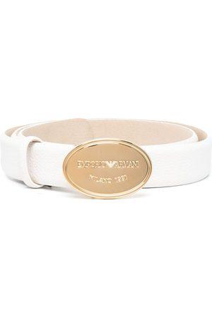 Emporio Armani Ženy Pásky - Engraved-logo buckle belt