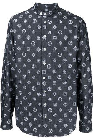 Armani Embroidered monogram denim shirt