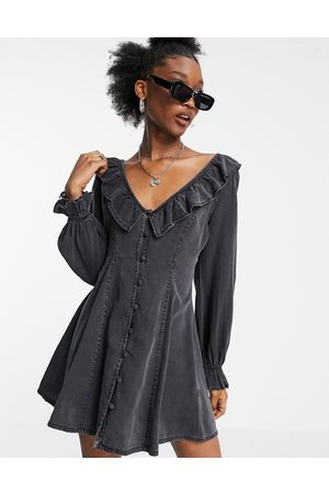 ASOS DESIGN Soft denim ruffle tea dress in washed black