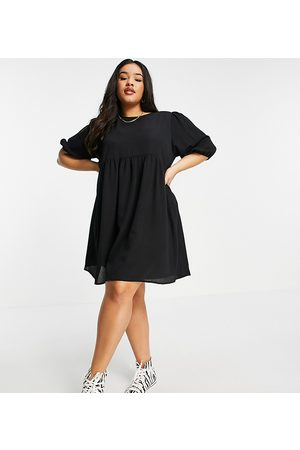 ASOS Ženy Volnočasové - ASOS DESIGN Curve short sleeve smock mini dress in black
