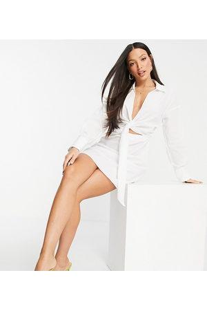 ASOS Tall Ženy Volnočasové - ASOS DESIGN Tall collared tie drape front mini shirt dress in poplin in white