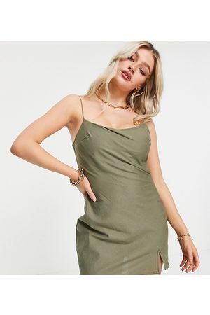 ASOS Petite ASOS DESIGN Petite linen cami mini sundress in khaki-Green