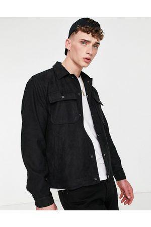 Pull&Bear Trucker jacket in black faux suede