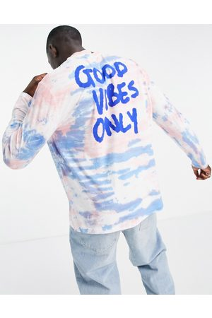ASOS Relaxed long sleeve t-shirt in tie dye with back text print-Multi