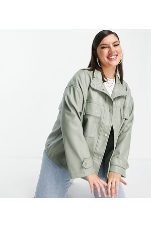 ASOS Curve chuck on faux leather jacket in sage-Grey