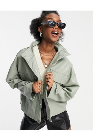 ASOS Chuck on faux leather jacket in sage-Grey