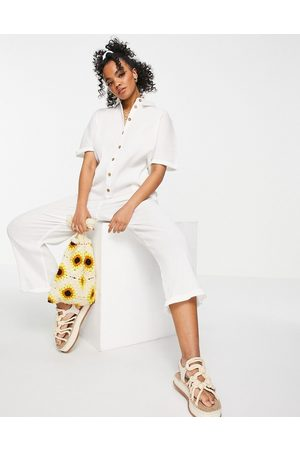 ASOS DESIGN Button through chuck on shirt jumpsuit in white