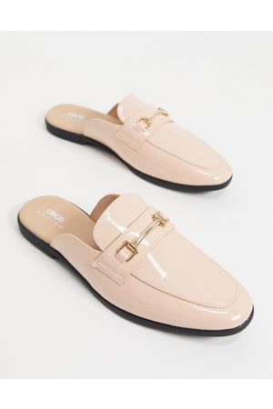 ASOS DESIGN Backless mule loafer in pink patent faux leather