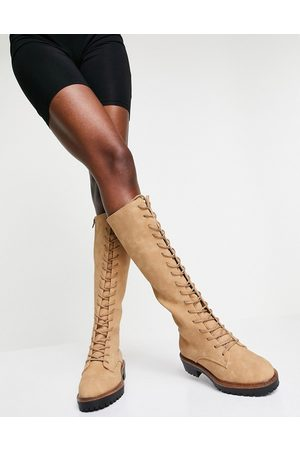 ASOS DESIGN Courtney chunky lace up knee high boot in sand-Neutral