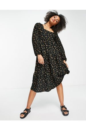 ASOS Ženy Volnočasové - Long sleeve square neck tiered midi dress in black and yellow floral