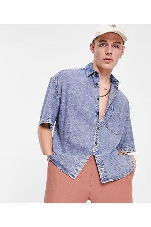 ASOS Oversized short sleeve denim shirt in acid wash-Blue