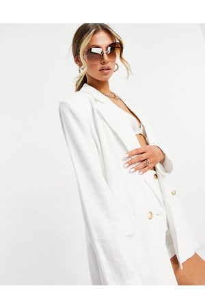 ASOS Washed double breasted linen suit blazer in white