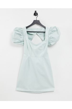 ASOS Denim dress with extreme puff sleeves in mint-Green