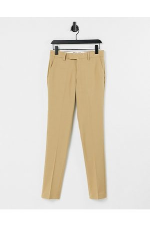ASOS Muži Společenské - Wedding super skinny suit trousers in camel micro texture-Grey