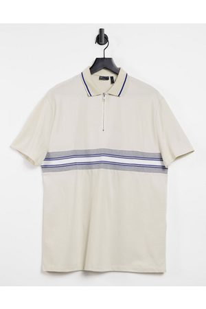 ASOS Relaxed organic polo shirt with zip neck and taping-Neutral