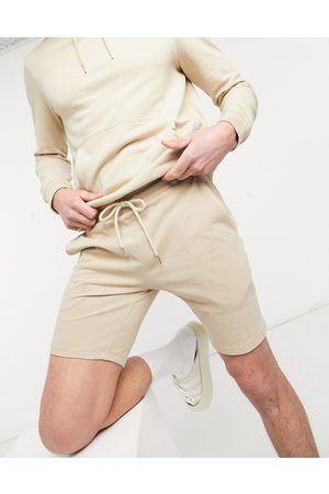 ASOS Co-ord skinny shorts in beige pique-Neutral