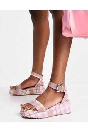 ASOS DESIGN Tatiana flatform sandals in multi gingham
