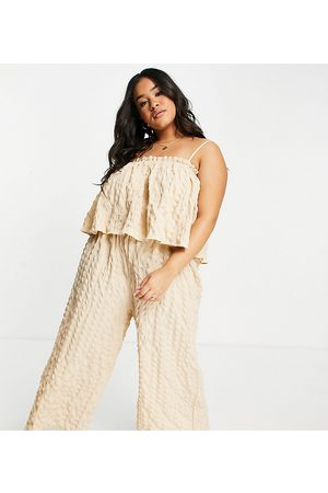 ASOS Curve ASOS DESIGN curve double layer textured culotte jumpsuit in sand-Brown