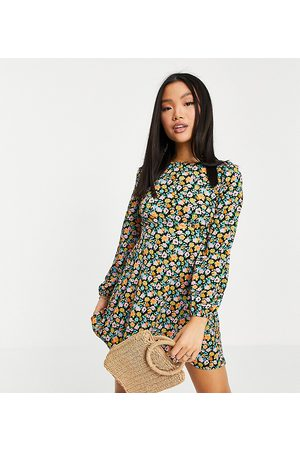 ASOS Ženy Na párty - ASOS DESIGN Petite long sleeve tie back mini dress in bright floral-Pink
