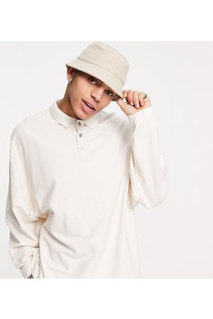 Collusion Oversized long sleeve polo in heavy weight jersey fabric co-ord-White