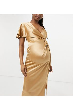 ASOS ASOS DESIGN Maternity twist one sleeve midi dress with thigh split in gold