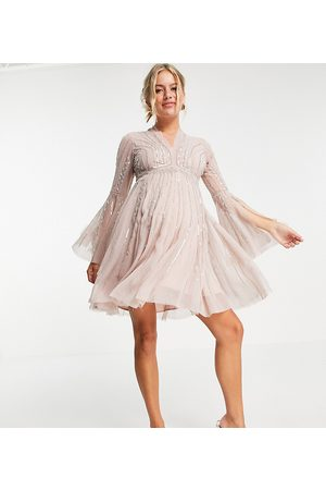 ASOS Ženy Na párty - ASOS DESIGN Maternity skater embellished mini with flared sleeve-Pink