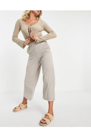 Monki Ženy Legíny - Cilla recycled co-ord super soft trousers in beige-Neutral
