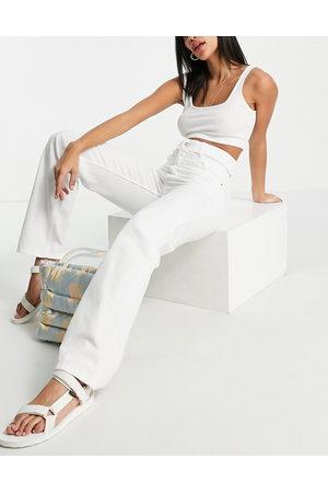 Bershka Ženy S vysokým pasem - High waisted cut out straight leg jeans in white