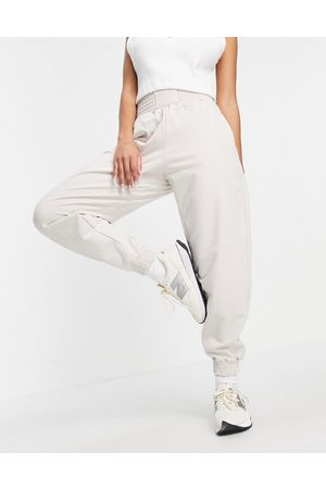 Bershka Oversized jogger with waistband detail in beige-Neutral