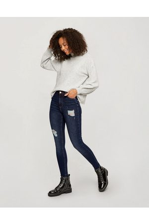 Miss Selfridge Ženy S vysokým pasem - Lizzie high waist authentic skinny jeans with rips in dark wash-Blue