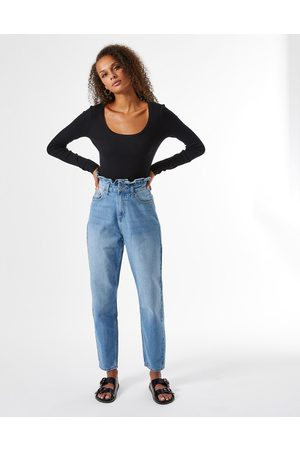 Miss Selfridge Mom jeans with frill detail in blue