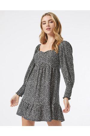 Miss Selfridge Ženy Volnočasové - Sweetheart neckline mini dress in monochrome ditsy floral-Black
