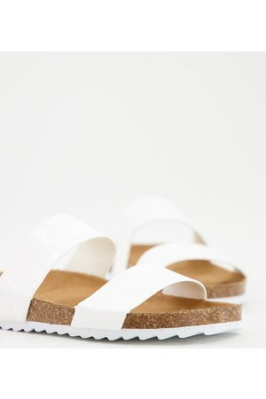 South Beach Ženy Sandály - Exclusive double strap slider footbed sandals in white croc
