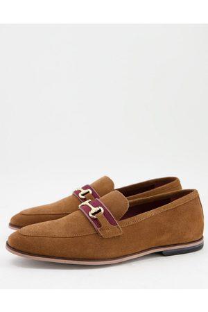 WALK LONDON Raphael bar loafers in tan suede-Neutral