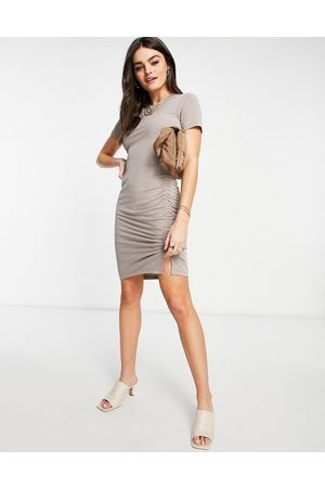 French Connection Sissy jersey mini dress in brown