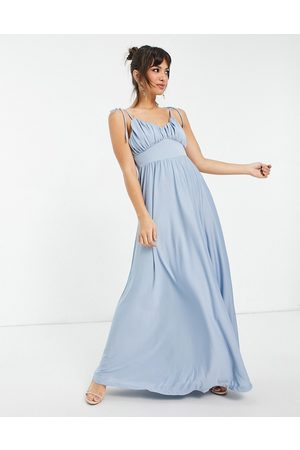 ASOS Spaghetti strap ruched bust maxi dress in dusky blue