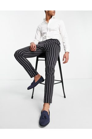 ASOS Skinny stripe smart trouser with back cinch and turn up-Navy