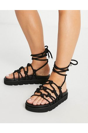 ASOS Ženy Sandály - Fizzle chunky rope sandals in black