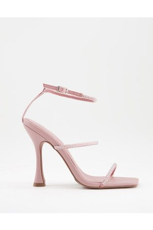 ASOS Negotiate barely there diamante high-heeled sandals in blush-Pink