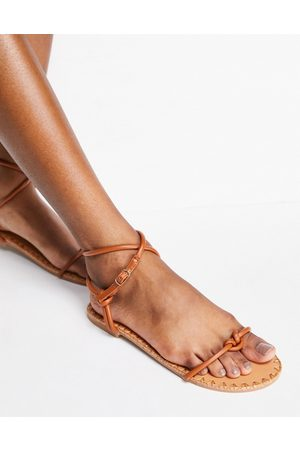 ASOS Finally minimal strappy sandals in tan-Brown