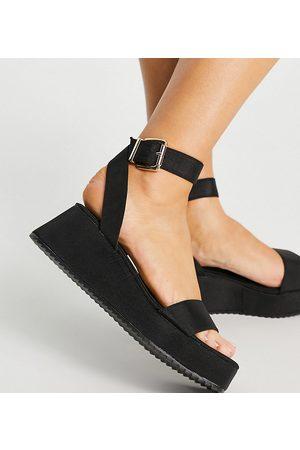 ASOS Ženy Sandály - Wide Fit Tatiana flatform sandals in black