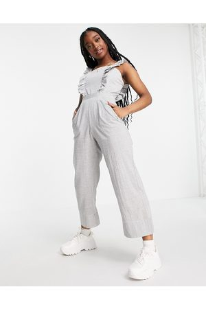 Missguided Ženy Overaly dlouhé - Jumpsuit with frill front in stripe-Multi