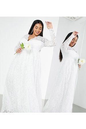 ASOS Ženy Na párty - Curve Penny V neck lace wedding dress-White