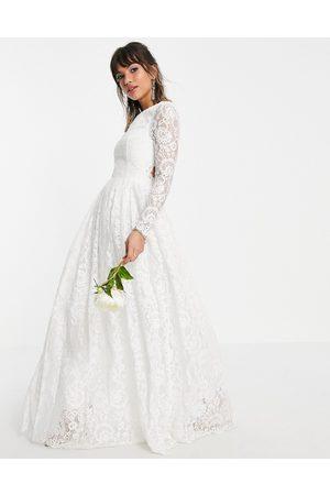 ASOS Ženy Na párty - Odette lace long sleeve wedding dress with open back-White