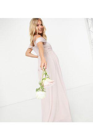 TFNC Ženy Asymetrické - Bridesmaid drape shoulder asymmetric maxi dress in mink-Pink