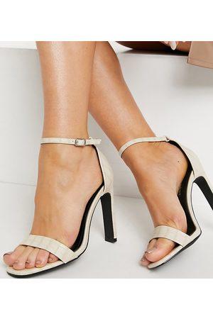 Glamorous Wide Fit Ženy S otevřenou špičkou - Barely there sandals with set back heel in off white croc-Neutral