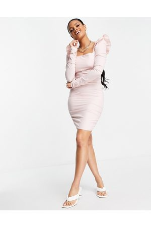 Love & Other Things Ženy Přiléhavé - Mesh long sleeve bodycon dress in pink
