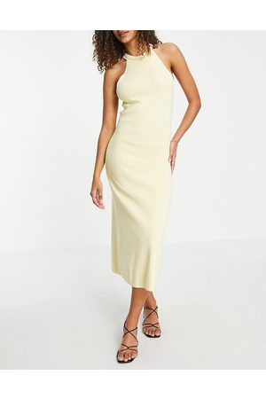 ASOS Knitted midi dress with halter neck in yellow-Green